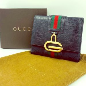 GUCCI Signature Black French Flap Bi-Fold Wallet